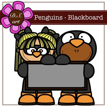 Penguins - Blackboard Digital Clipart (color and black&white)