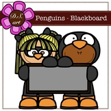 Penguins - Blackboard Digital Clipart (color and black&white)