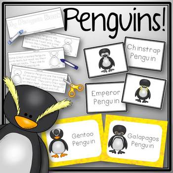 Penguin Activities Book to Cut and Create, Posters, Matching Cards for Centers
