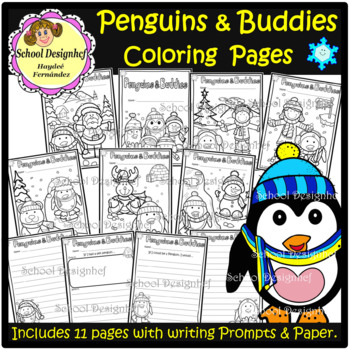 Penguins & Buddies - Santa / Snowman - Coloring Pages (School Designhcf)