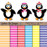Penguins Bundled Up with Scarves and Hats Clip Art & Striped Papers
