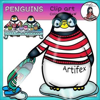 Penguins Clip Art -Color and B&W-
