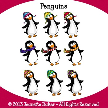 Penguins Clip Art by Jeanette Baker