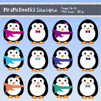 Penguins Clipart Graphics Set - Winter Themed