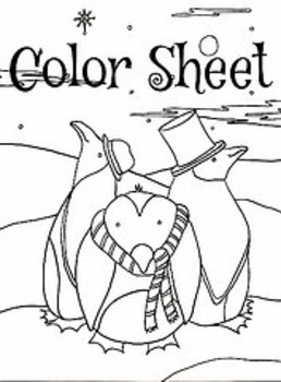 Christmas Winter Holiday Penguins Color Sheet