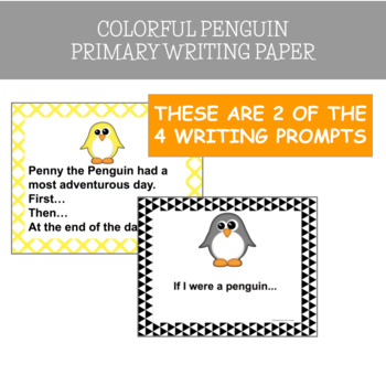 Winter, Penguins: Colorful Penguins Primary Writing Paper