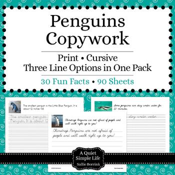 Penguins Unit - Copywork - Print and Cursive - Handwriting