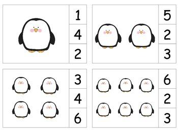 Penguins Count & Clip 1-20 Task Cards