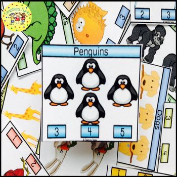 Penguins Count and Clip Task Cards