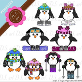 Penguins Digital Clipart (color and black&white)