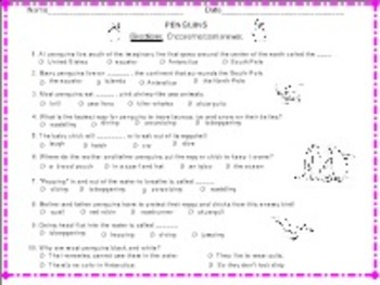 Penguins - Informational Text Booklet & Fun Literacy Activities PDF