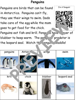 Penguins: Informational Text and Writing Activity