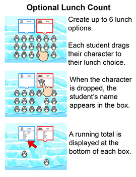 Penguins Theme Attendance for Interactive Whiteboards - Winter Activities