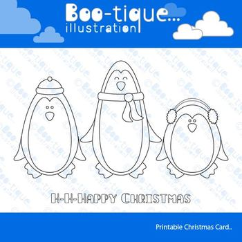 Penguins Line Art Card Printable. Christmas Colouring in C