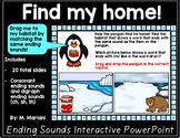 Penguins Literacy Phonemic Awareness Interactive PowerPoint (Ending Sounds)