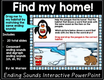 Penguins Literacy Phonemic Awareness Interactive PowerPoint (Ending Sounds)