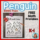 Penguins Math Roll and Color FREE
