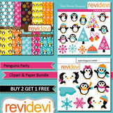 Penguins Party Clip art and Bundle (3 packs), teacher seller toolkit for winter