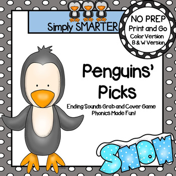 Penguins' Picks:  NO PREP Ending Sounds Grab and Cover Game