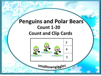 Penguins and Polar Bears Task Cards, Winter Math, Count to 20, Special Education