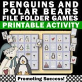 Penguins and Polar Bears Winter Math & Literacy File Folder Games Autism