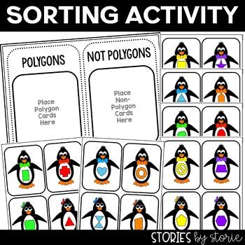Polygons (Sorting Activity, Anchor Charts, and Worksheets)