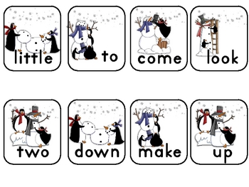 Penguins' Snow Day Fun Pre-Primer Sight Word Practice Game