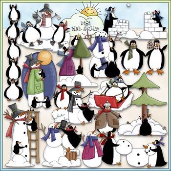 Penguins & Snowmen Clip Art - Snowman Clip Art - CU Clip Art & B&W