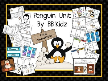 Penguins/ Stations/ Math & Lang. Activities/ Roll and Cover/ Craft/ Calendar Set