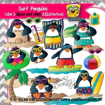 Penguins Surfing in Summer Clip Art
