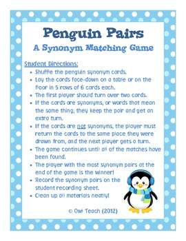 Penguins Synonyms Game