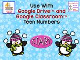 Penguins Teen Numbers Tens Blocks and Ten Frames for Google Classroom™