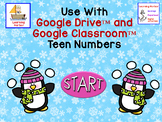 Penguins Teen Numbers Tens Blocks and Ten Frames for Google Classroom™