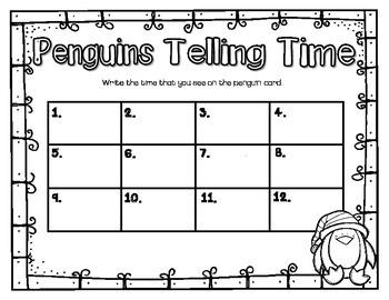 Penguins Telling Time {Freebie}