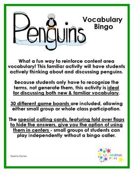 Penguins Vocabulary Bingo