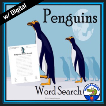 Penguins Word Search Puzzle - Types of Penguins