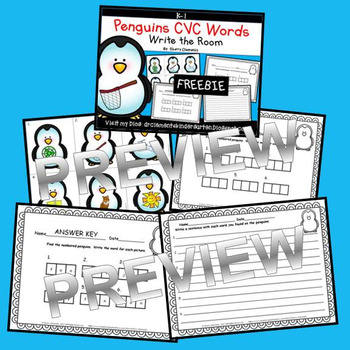 Penguins Write the Room (CVC Words) FREEBIE