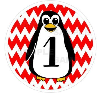 Penguins and Chevrons Table Numbers