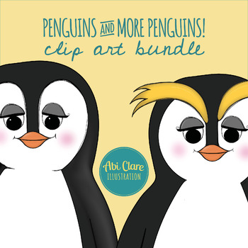Penguins and More Penguins Clip Art Set (Colorful and Winter Sports)
