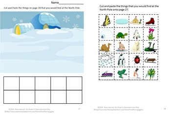 Kindergarten Winter Math Literacy Cut & Paste Worksheets Penguins & Polar Bears