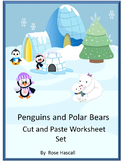 Penguins & Polar Bears, Winter Math Literacy Cut & Paste Kindergarten Special Ed