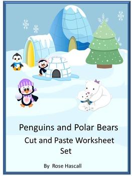 Penguins & Polar Bears, Winter Math Literacy Cut & Paste Kindergarten Special Ed