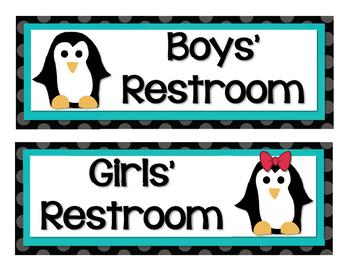 Penguins and Polka Dots Classroom Decor Set