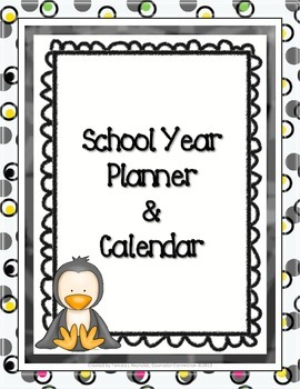 Penguins and Polka Dots Teacher's School Year Planner
