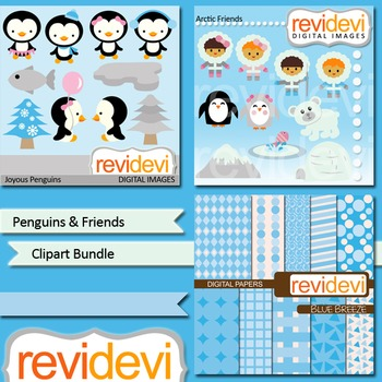 Penguins and eskimo clip art - bundle (3 packs) penguins and friends