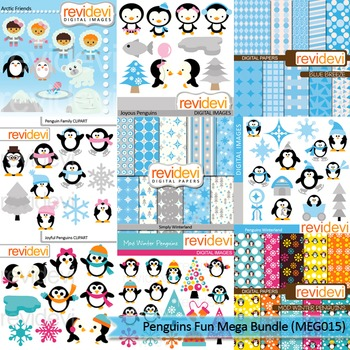 Penguins fun clip art mega bundle (9 packs)