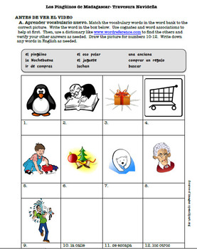 Penguins of Madagascar- Spanish Christmas Caper Activity Packet