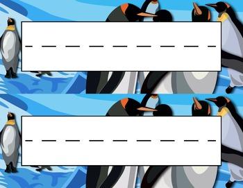 Penguins on Ice Desk Name Tag Plates Set