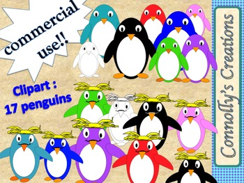 Penguins : skinny and macaroni penguins clip art for Commercial Use!