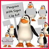 Penguins with Signs Clip Art - Color and Blackline